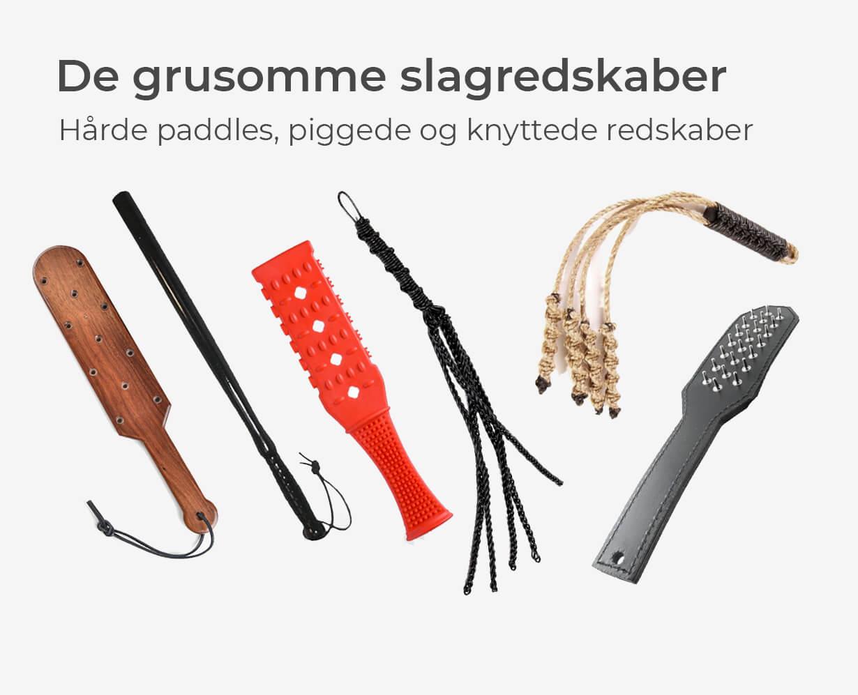 Grusomme slagredskaber, så som paddles med pigge og knyttede floggers