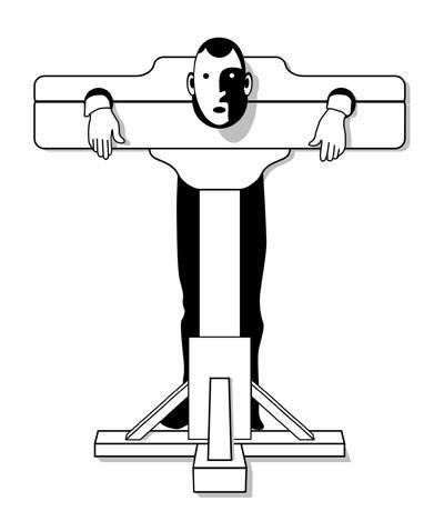 Illustration: Sådan ser det ud, når man står i gabestok