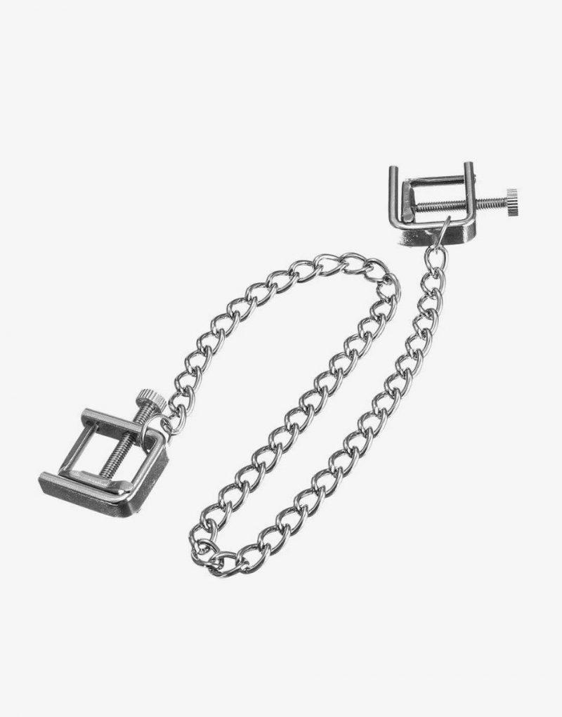 Justerbare klemmer med kæde. C-klemmerne er særligt gode til skamlæber og til de, der gerne vil kunne justere ned til mindste klem.
