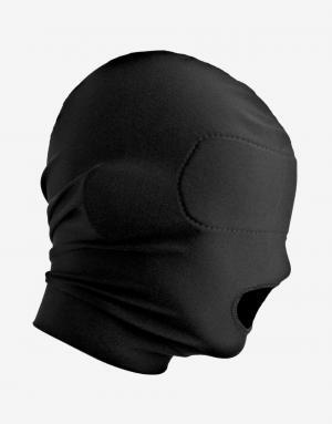 Fra siden ses blindfoldet i Disguise spandex maske med åben mund tydeligt