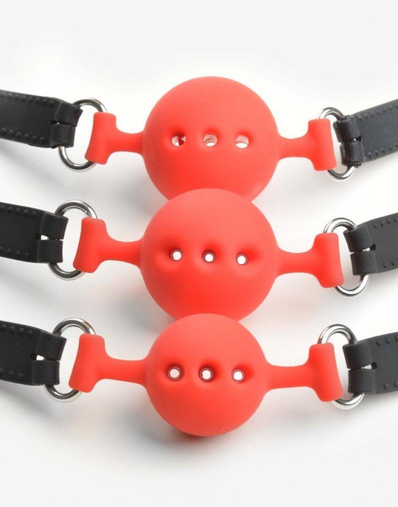 Silikone ball gag med huller - Flere størrelser og farver-1057