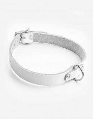 Hvidt læder halsbånd med ring-0